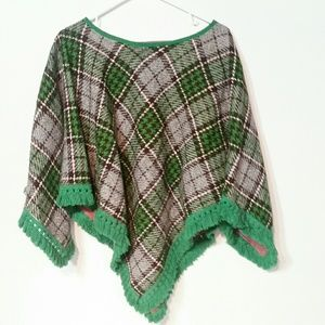 VINTAGE wool hand-sewn poncho one size